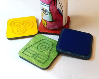Avatar Elements Lasercut Wood Coasters