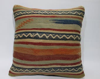 kilim rug pillow 16x16 striped  throw pillow,sofa pillow,cushion cover,couch pillow 16x16 embroidered pillow,vintage kilim pillowcase  2700