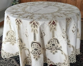 """LIM'S Vintage Battenberg Lace and Embroidery Tablecloth 75""""X 75"""" Round Color Natural"""