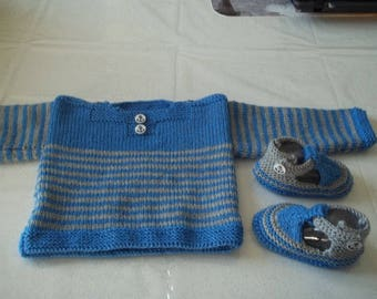 sailor and slippers - handmade baby 0/3 months-