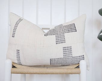 14X22 Mudcloth Pillow Cover Embroidered Hausa Vitnage
