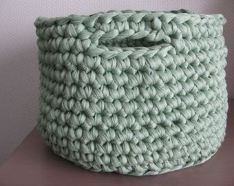 basket green storage basket handmade crochet with recycled cotton yarn