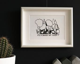 Limited Edition. A dark forest. Black and white print. ' It's a jungle out there!!? '
