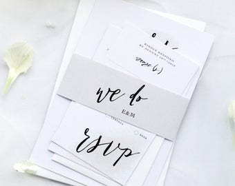 DELUXE 400gsm x90 Invitations, x90 RSVP cards, x90 Details cards, x90 Belly bands, not assembled, x90 Envelopes Invites and rsvp - Morgan