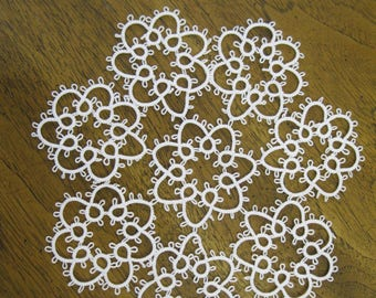 New Handmade White Tatted 9 Inch lace Doily