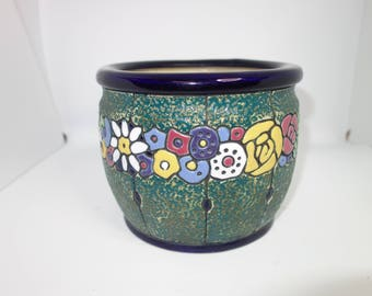 Amphora plant pot 1920's enamel finish