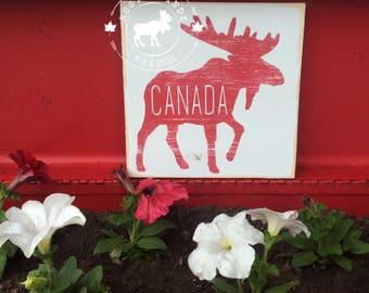 Canada Moose Sign // Moose Decor // Canada Sign // Canada Wood Sign // Canadian Decor // Canada Decor // Canada Day Decor