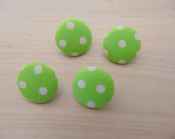 4 x buttons 19mm Green TOUR6 dot fabric