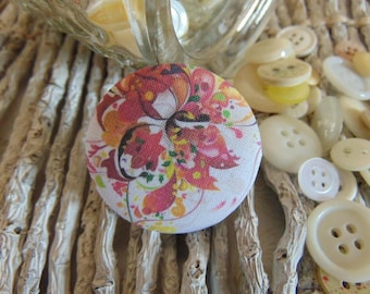 x 1 cabochon 19mm bouquet flowers 3 BOUT10 fabric