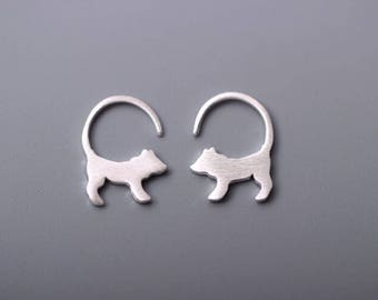 Sterling silver dog earrings, silver earrings