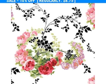 SALE! Rose by Anna Griffin - Per Yd - Roses and Black Leaves/swirled