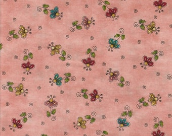 SALE! No FOWL Play - Per Yd - Henry Glass by Leanne Anderson - Flowers on Salmon