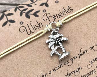 Palm Tree Wish Bracelet, Make a Wish Bracelet, Wish Bracelet, Friendship Bracelet, Tropical Jewelry, Beach Jewelry, Gift for Her, Favour