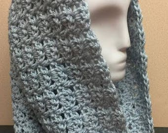 Light Blue Hooded Cowl, Shell Stitch Cowl, Hooded Cowl, Blue Cowl Scarf, Crochet Cowl Scarf, Winter Cowl, Gifts for Her, Crocheted Scarf