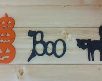 Halloween Decor Set - Halloween Wall Decor - Halloween Pumpkins - Halloween Cat - Boo - Jack-o-lanterns - I love Halloween