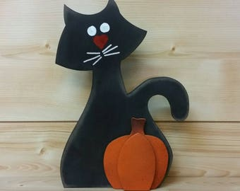 halloween black cat with pumpkin halloween black cat halloween decorations wooden black cat - Halloween Cat Decorations