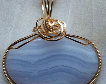 Blue Lace Agate Gold-filled Pendant Necklace with Chain