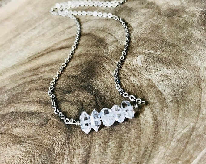 CLEARANCE SALE Silver Herkimer Diamond Necklace