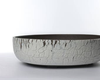 "10.25"" Wide Bonsai tree pot/ Succulent planter Dark brown clay with extremely rough white surface texture"