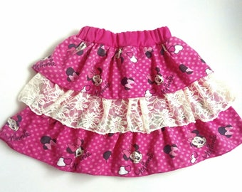 Minnie mouse skirt Girl laces skirt Three layer skirt Cotton Minnie mouse skirt