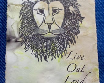 Live Out Loud Lion-  Kindness Card - BoiLeD BooKs  ECO Art PRINT - Post Card