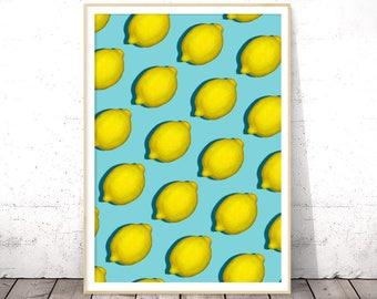 Printable Fruit Art, Lemon Wall Print, Lemon Printable, Citrus Kitchen Print, Digital Download Print, Lemon Print, Modern Farmhouse Art
