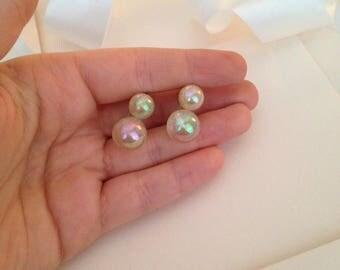 Antique Earrings - Clear Earrings - Screw Back Earrings - Very Old Earrings - Bubble Earrings - Antique Jewelry - Antique Jewellery - Gift