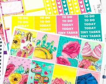 Fiesta Weekly Kit | Planner Stickers, Weekly Kit, fiesta weekly kit, Vertical Planner Kit, taco weekly kit, Cinco de Mayo weekly kit