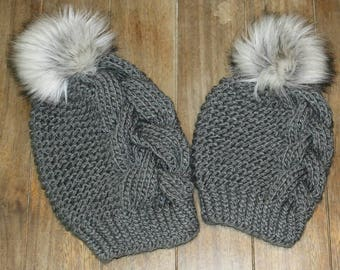 Knitted mommy and me beanie set