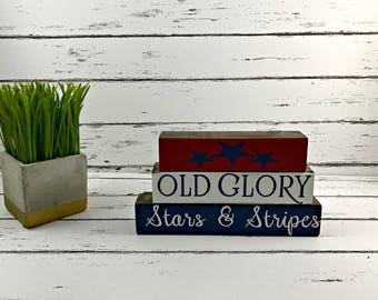 Freedom Old Glory Stars & Stripes Stackable Blocks - Fourth of July Wood Blocks - Patriotic Blocks - Military Blocks - Stackable Blocks