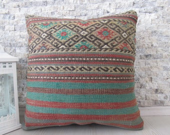 Modern Decorative Turkey Pillow Boho Pillow 18x18 Turkish Bolster Organic Pillow Natural Color Straight Woven Vintage Kilim Pillow