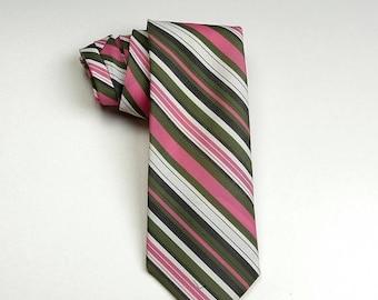 SALE 1970s 70s Necktie Tie Neck Tie Green Pink White Black Diagonal Stripe Necktie Neck Tie Vintage Man Mens