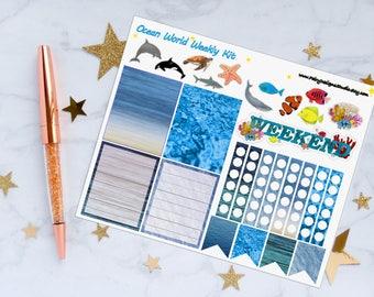 Ocean World Planner Stickers, Weekly Kit Stickers, Ocean Stickers, Sea World Stickers, Fish Stickers, Vinyl Stickers