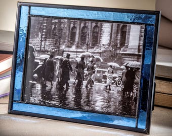 Blue Glass Picture Frame 5x7 Easel Back Frame Horizontal or Vertical Stained Glass Photo Frame Home Decor Gift Pic 324-57HV