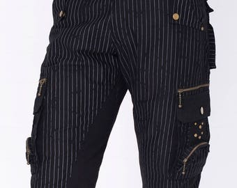 BLACK Steampunk, grunge Festival pants , burning man shorts, gothic shorts, alternative clothing, Psytrance shorts, Funky shorts, Cyberpunk,