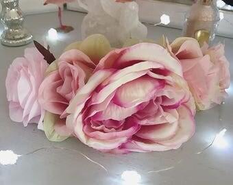Romantic Silk Blush Pink Rose Flower Crown Hair Head Band