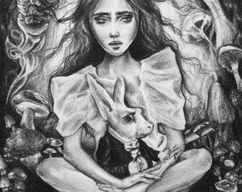 Fine Art Print Alice In Wonderland Surreal Illustration