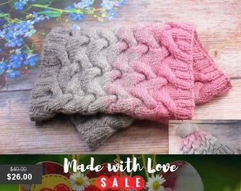 35% Sale Knit Cowl wool knit scarf knit snood Circle Scarf Cable Knit Infinity Scarf knit scarf Cowl Grey Cowl Pink Winter Cowl Neck Warmer