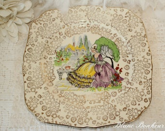 H. K. Tunstall, England: Square vintage plate with Marie-Antoinette taking tea