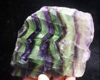 270g 93mm Great RAINBOW color Fluorite Slab Fluorite Slice both sides polished China 791431