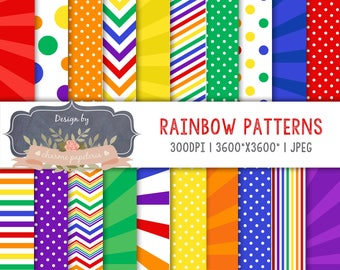 Rainbow digital papers - Rainbow Patterns - Backgrounds Rainbow, rainbow paper pack, colrfull paper, rainbow chevron, rainbow stripes, dots