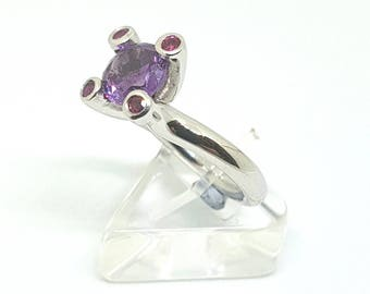 Silver ring with Spinel stone and rubies