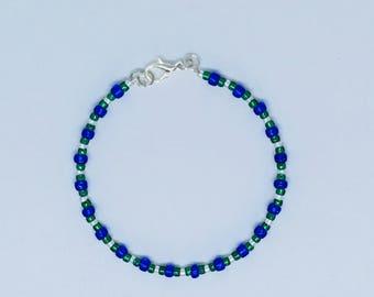Toho bead memory wire bracelet - beaded bracelet - blue and green bracelet - beaded bangle