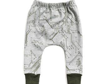 green circuit board harem pants,  green baby pants, baby pants, toddler harem pants, french terry harem pants, harem pants