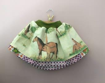 Pferde Rock Kinderrock vintage 70er retro 98 104 110 Kinderkleidung skirt rok roupa horses paard