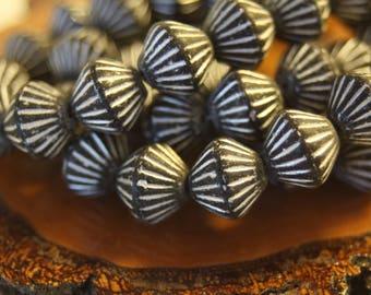 Czech Glass Beads, African Style Bead, 11mm Bi Cone, 15 Beads