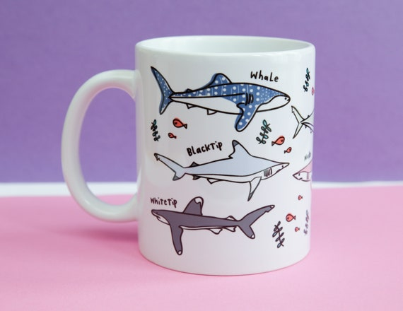 Shark mug, types of sharks mug, shark gift, shark coffee mug, Oceanography, shark lovers gift, gift for him, gift for her, shark gift mug