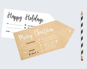 Large Merry Christmas Tag | Happy Holidays Printable tags | Rustic Modern Gift Tags