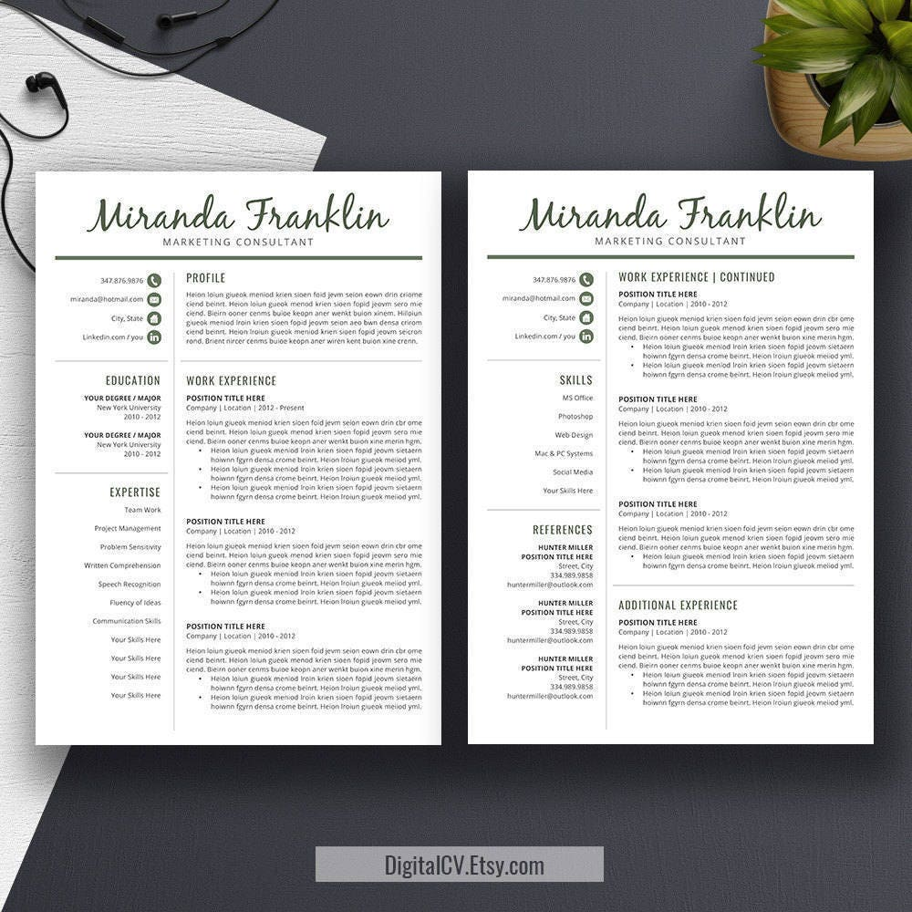 Professional Resume Template, Word CV Template, Cover Letter ...