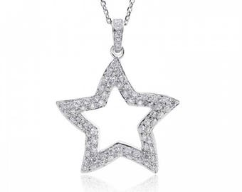 0.90 Carat Round Cut Diamond Star Pendant on Cable Link Chain 18K White Gold